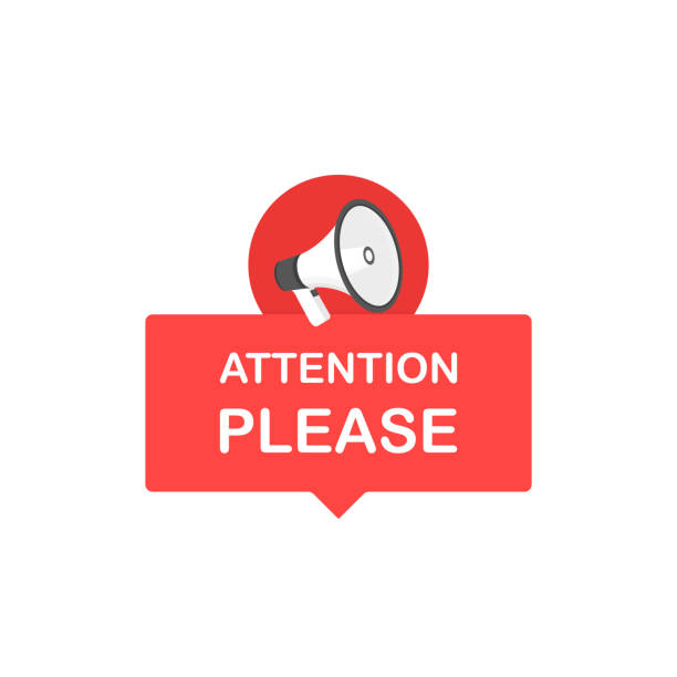 Attention please bubble with megaphone. Flat cartoon style. Modern line vector illustration Attention please bubble with megaphone. Flat cartoon style. Modern line vector illustration. showing off stock illustrations
