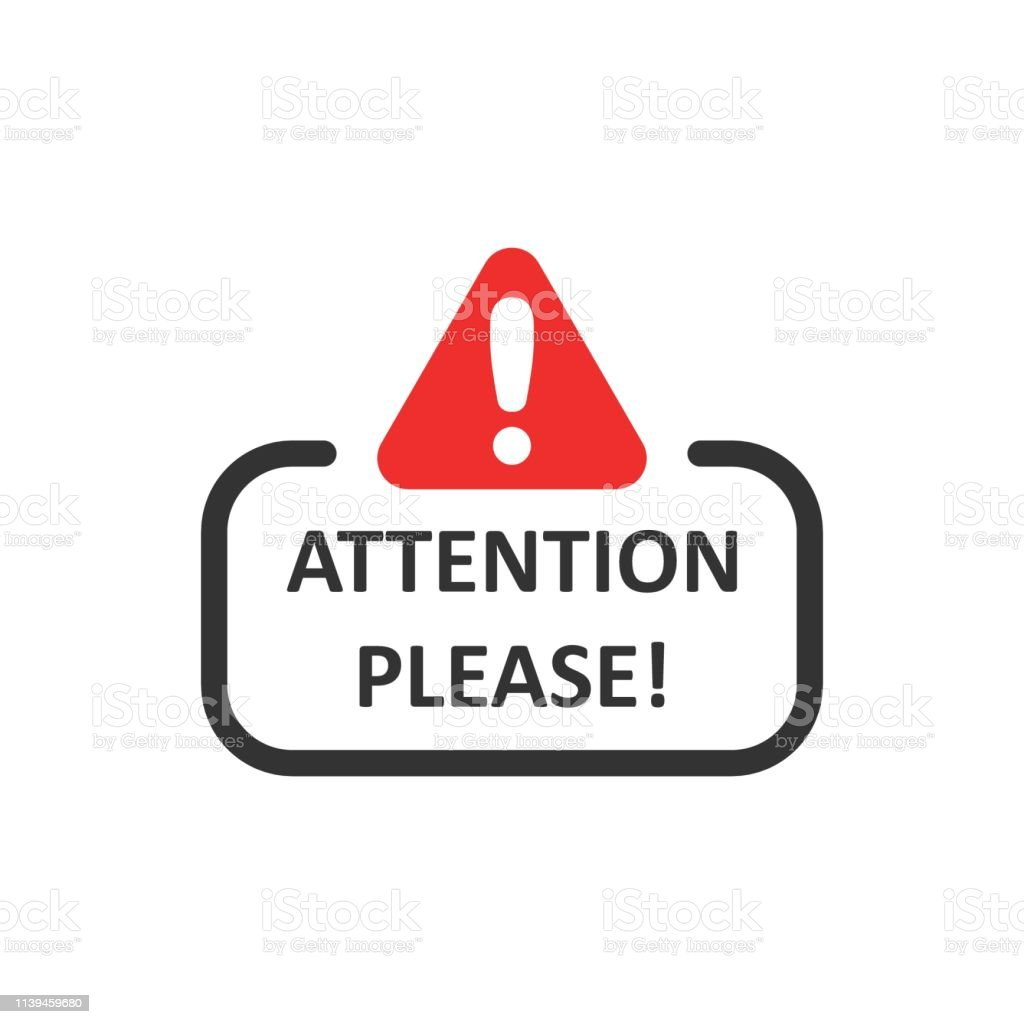 Attention please sign icon in flat style. Warning information vector illustration on white isolated background. Exclamation business concept. - Grafika wektorowa royalty-free (Baner)