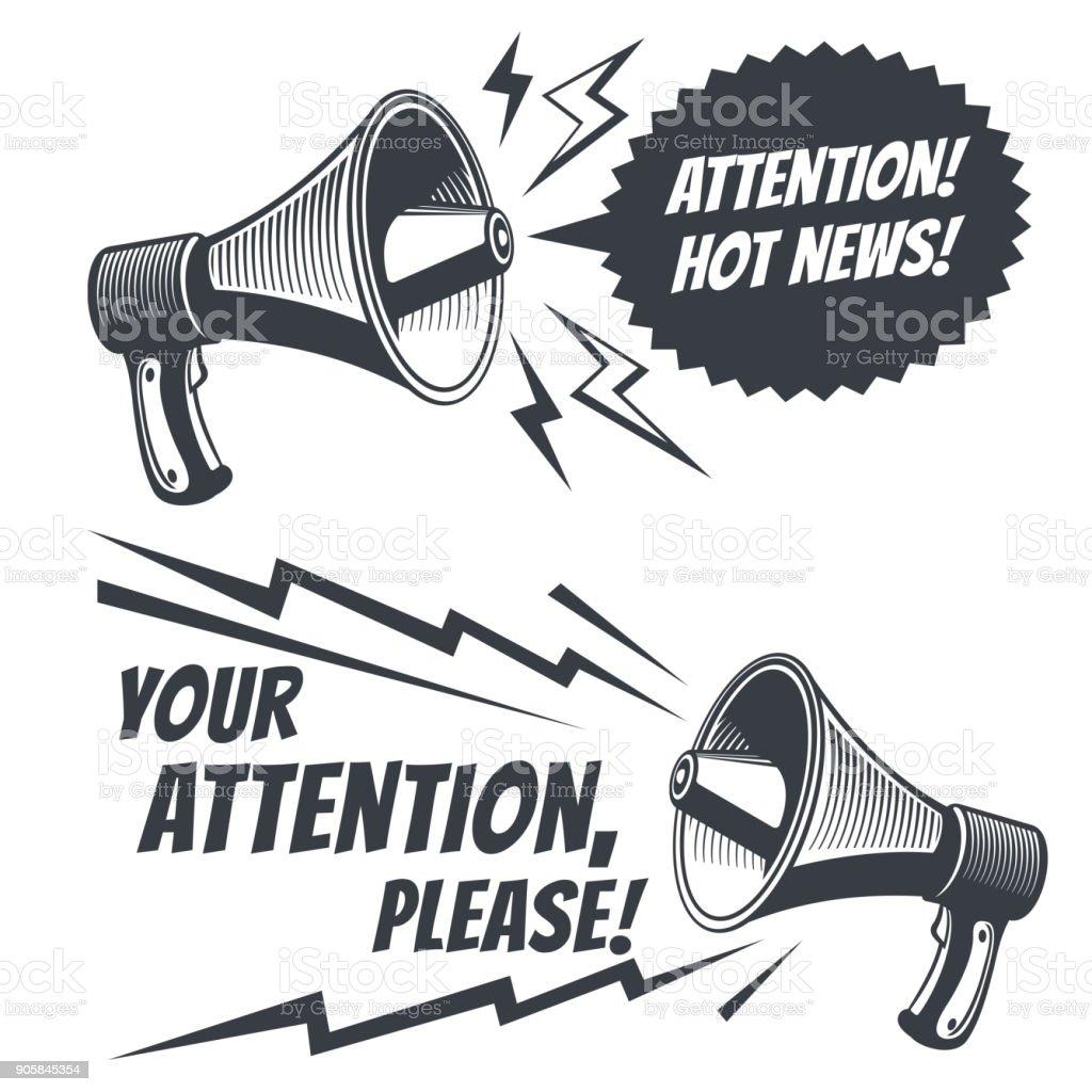 Attention please vector symbols with voice megaphone. Commercial poster - ilustração de arte vetorial