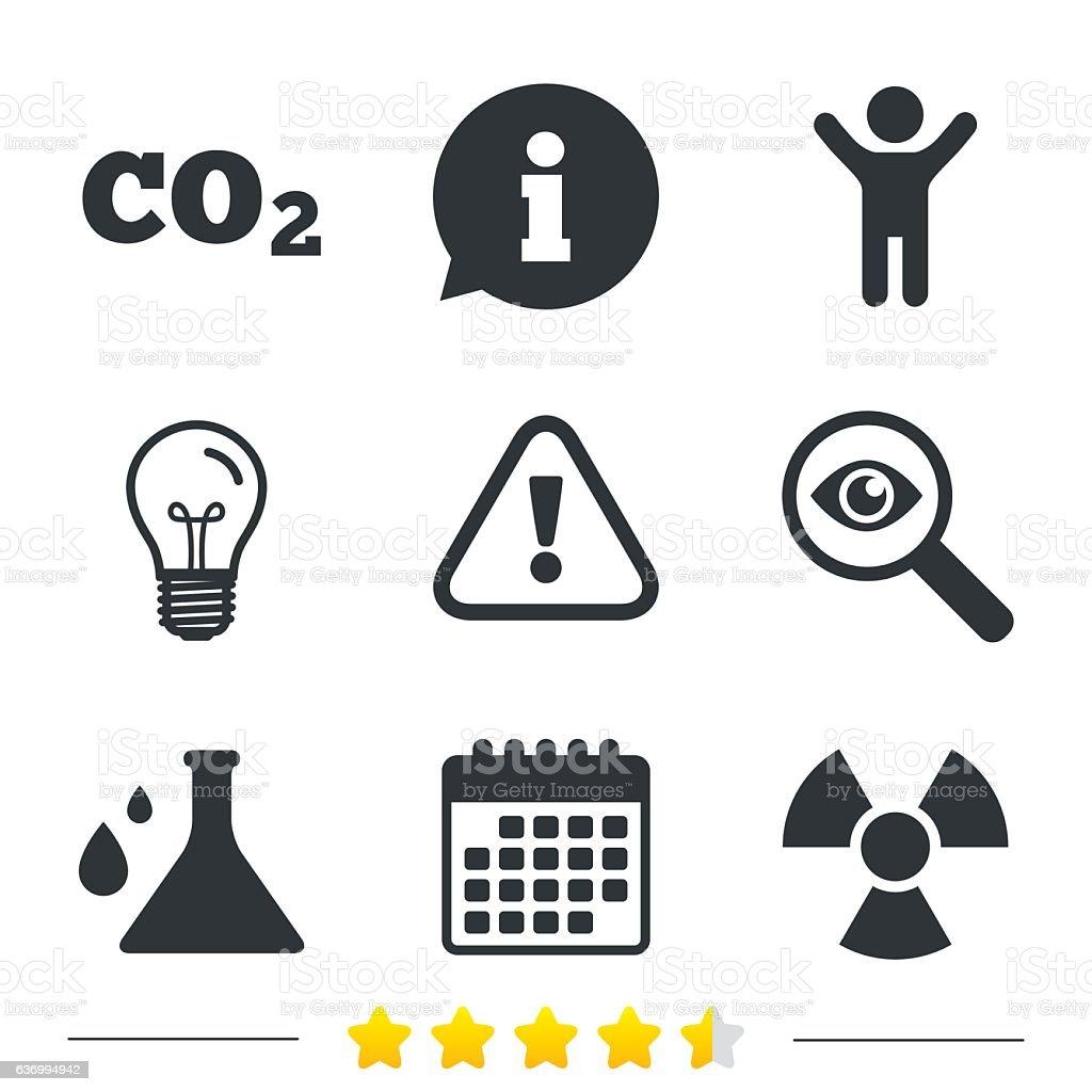 Attention radiation icons. Chemistry flask. vector art illustration