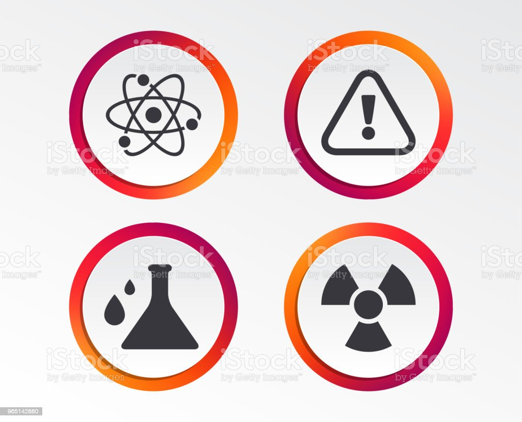 Attention radiation icons. Chemistry flask. royalty-free attention radiation icons chemistry flask stock vector art & more images of atom