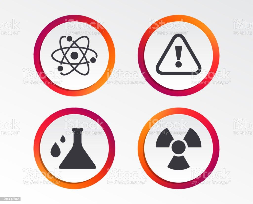 Attention radiation icons. Chemistry flask. attention radiation icons chemistry flask - stockowe grafiki wektorowe i więcej obrazów aplikacja mobilna royalty-free