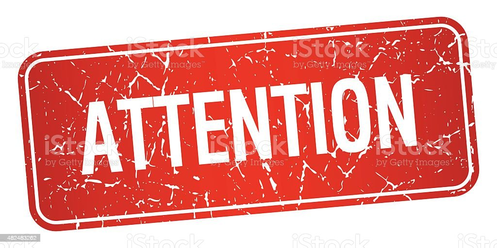 attention red square grunge textured isolated stamp vector art illustration