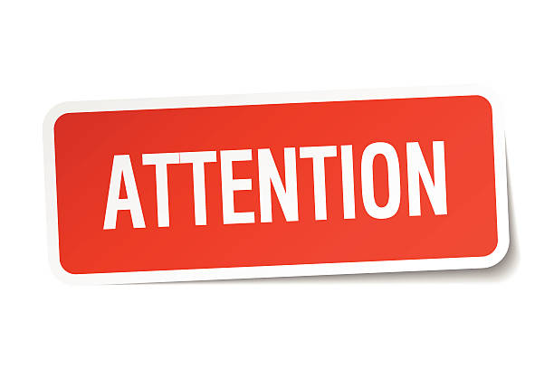 attention red square sticker isolated on white - attention stock illustrations, clip art, cartoons, & icons
