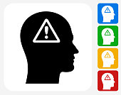 Attention Sign Exclamation Point Face Profile. The icon is black and is placed on a square vector button. The button is flat white color and the background is light. The composition is simple and elegant. The vector icon is the most prominent part if this illustration. There are four alternate button variations on the right side of the image. The alternate colors are red, yellow, green and blue.
