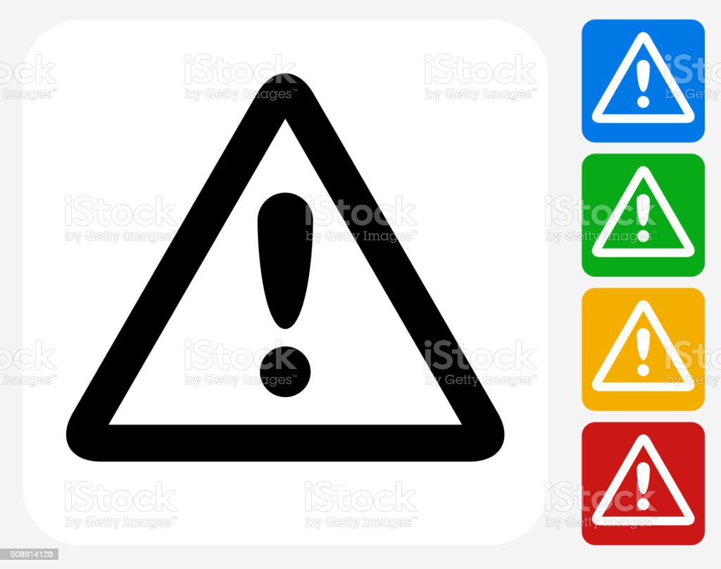 Attention Sign Icon Flat Graphic Design vector art illustration