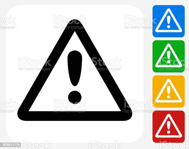 Attention Sign Icon. This 100% royalty free vector illustration features the main icon pictured in black inside a white square. The alternative color options in blue, green, yellow and red are on the right of the icon and are arranged in a vertical column.