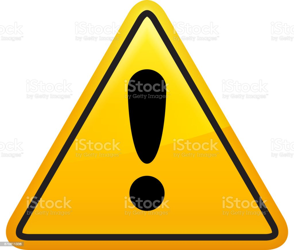 Attention Sign Icon Yellow Triangle vector art illustration
