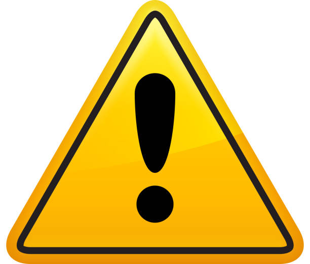 Attention Sign Icon Yellow Triangle Attention Sign Icon Flat Graphic Design. This royalty free vector illustration features an exclamtion point attention sign.  Image is ideal for warning sign and attention sign concepts. warning symbol stock illustrations