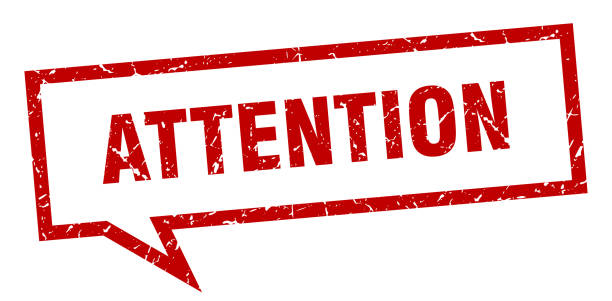 Attention sign attention speech bubble on white background. attention sign showing off stock illustrations