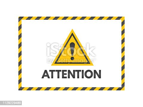 Attention sign with black and yellow ribbons. Exclamation mark isolated on white background. Pay attention banner. Yellow triangle on white backdrop. Danger symbol concept. Vector illustration.
