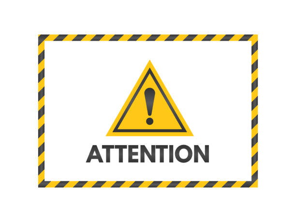Attention sign with black and yellow ribbons. Exclamation mark isolated on white background. Pay attention banner. Yellow triangle on white backdrop. Danger symbol concept. Vector illustration Attention sign with black and yellow ribbons. Exclamation mark isolated on white background. Pay attention banner. Yellow triangle on white backdrop. Danger symbol concept. Vector illustration. absorption stock illustrations