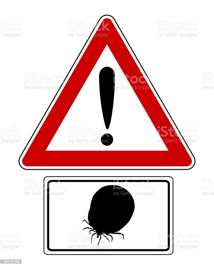 Attention sign with optional label soaked tick vector art illustration