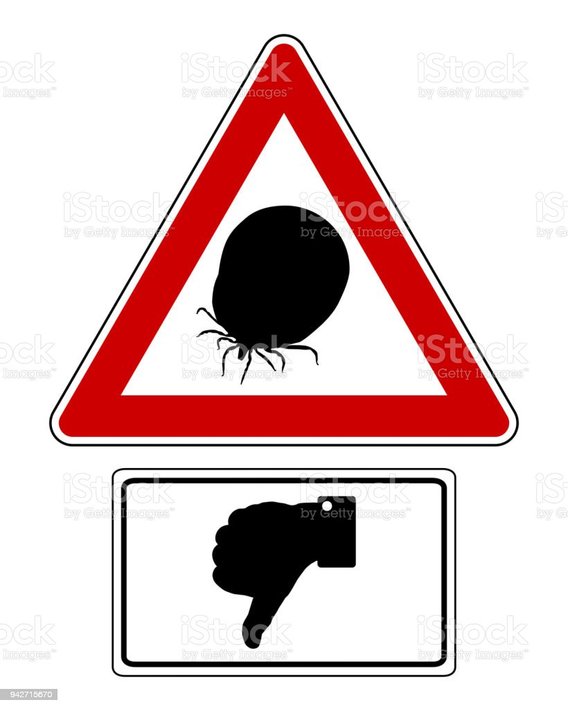 Attention sign with optional label thumbs down vector art illustration