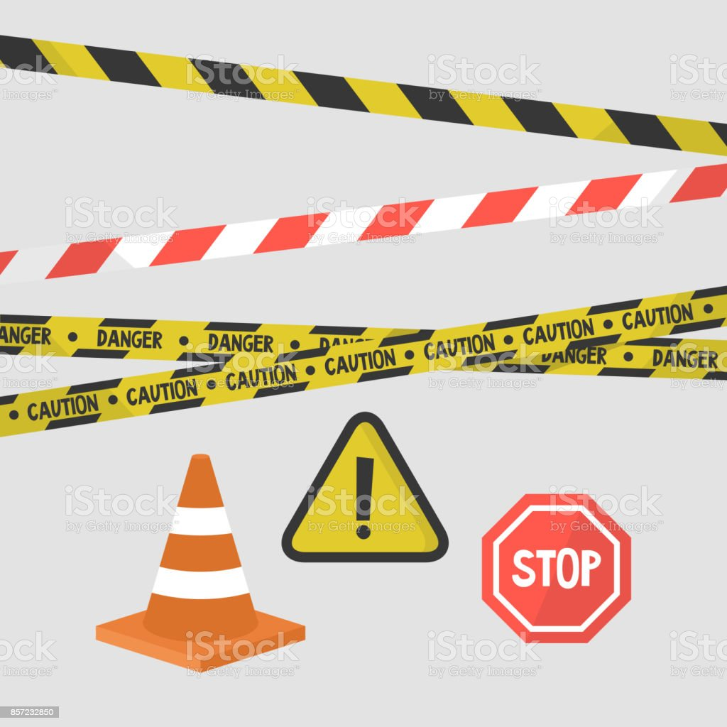 Attention signs set. Police tapes, road signs and equipment / flat editable vector illustration, clip art vector art illustration
