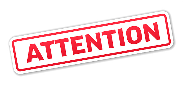 Attention - Stamp, Banner, Label, Button Template. Vector Stock Illustration