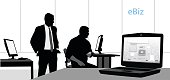 """A vector silhouette illustration of two business men  looking at a computer screen in a tech opffice.  A lap top in the foreground displays circuitry and text reading """"eBiz"""" is in the corner."""