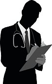 A vector silhouette illustration of a male doctor writing on a clipbaord wearing a stethoscope, balzer, and neckie.