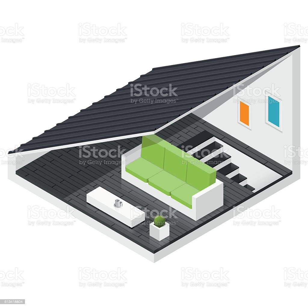 Attic of a private house isometric icon set vector art illustration