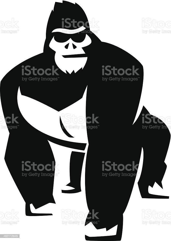 attitude gorilla vector art illustration
