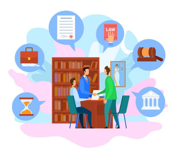 illustrations, cliparts, dessins animés et icônes de avocat bureau consultation personnes handshaking. - notaire