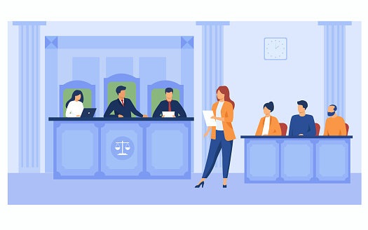 Attorney pleading in court. Lawyer woman speaking in courtroom, reading from notes, addressing judge and jury box. Vector illustration for courthouse, trial, law, judgment, justice concept