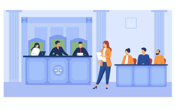 Attorney pleading in court Attorney pleading in court. Lawyer woman speaking in courtroom, reading from notes, addressing judge and jury box. Vector illustration for courthouse, trial, law, judgment, justice concept police meeting stock illustrations