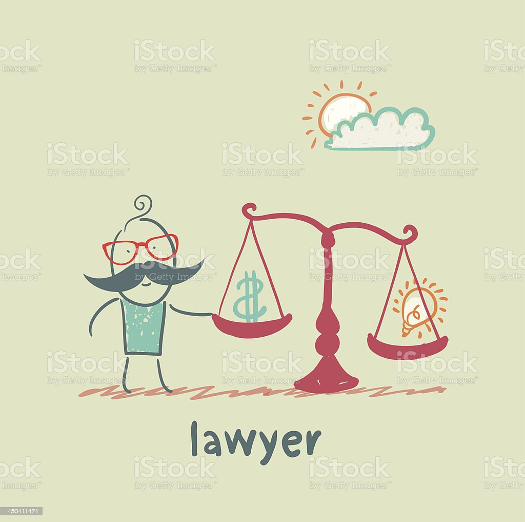 attorney weighs in the balance money royalty-free stock vector art