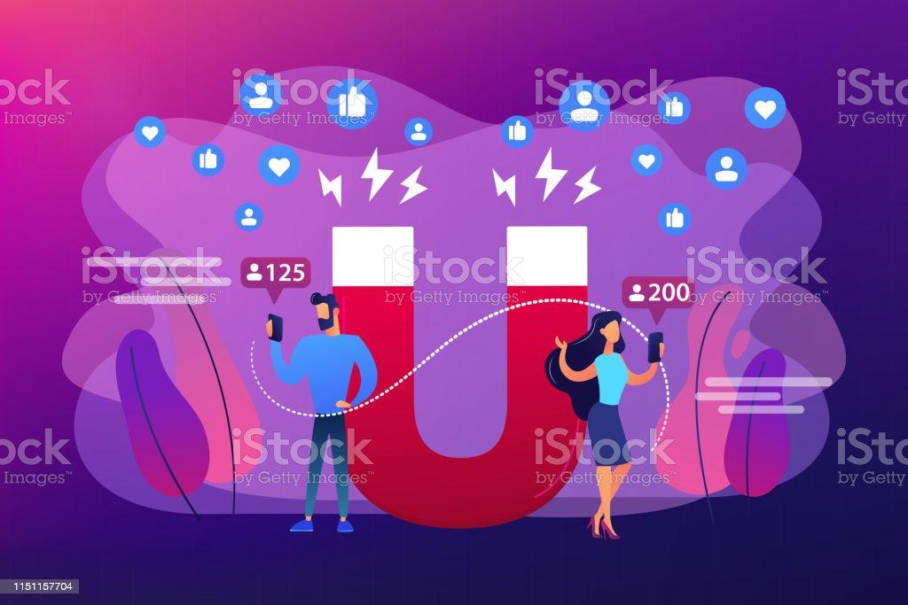 吸引追隨者概念向量例證 - 免版稅一見鍾情圖庫向量圖形