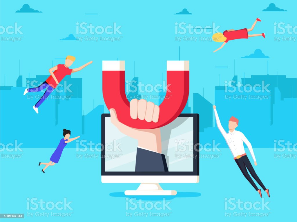 Attracting online customers. Hand with magnet attract people and money in screen. Commercial campaign vector art illustration