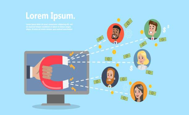 online-kunden zu gewinnen. - computergrundlagen stock-grafiken, -clipart, -cartoons und -symbole