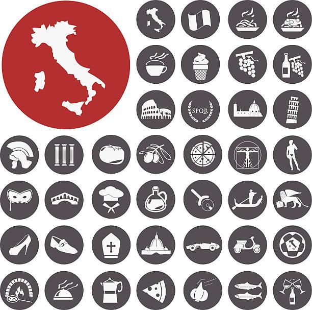 Sehenswürdigkeiten, die Speisen und die Kultur Italiens.  Vektor Illustration eps1 – Vektorgrafik