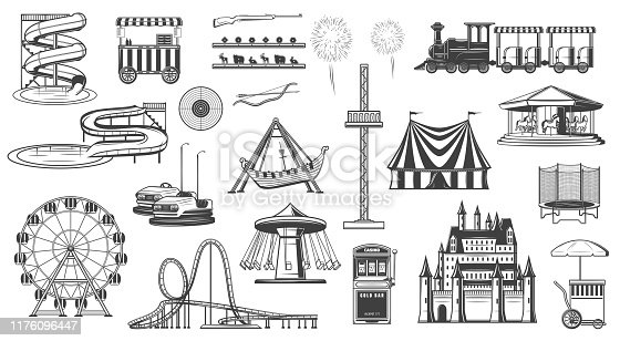 Amusement park attractions isolated monochrome icons. Vector entertainment elements, ferris wheel, carousel, roller coaster, popcorn ice cream machine. Aqua park and train, fireworks, shooting gallery