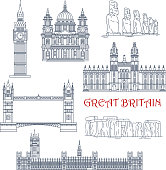 Linear architecture and historical landmarks of Great Britain and Chile for travel and tourism design with thin line icons of Big Ben, Stonehenge, Tower Bridge, Windsor Castle and St Paul Cathedral and moai stone figures of Easter Island