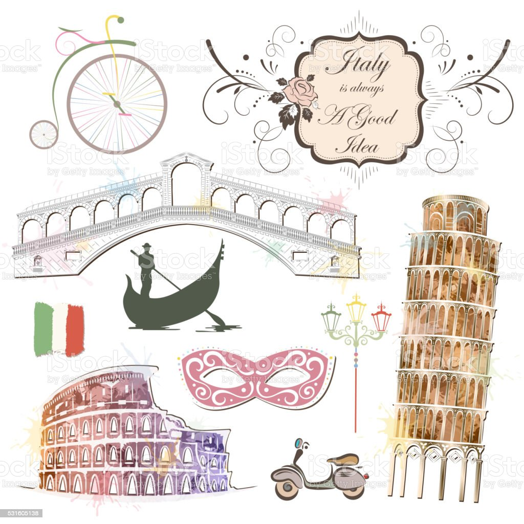 Attractions Of Italy vector art illustration