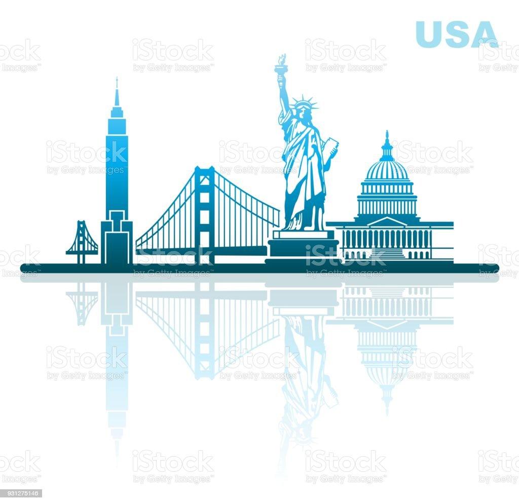 Ilustración de Lugares De Interés De Estados Unidos Paisaje Urbano ...