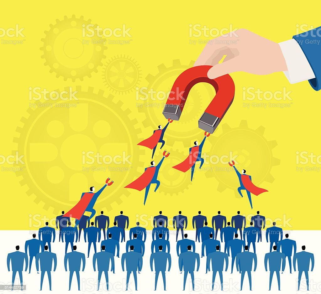 Attraction:Selecting the excellent staffs. vector art illustration