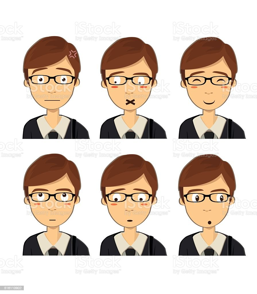 Attractive brown haired boy with different face expressions. Vector Isolated vector art illustration