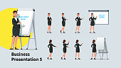 Attractive business teacher woman giving presentation or lecture on a modern flipchart poses set. Businesswoman showing flipchart and text on projection screen. Flat vector illustration