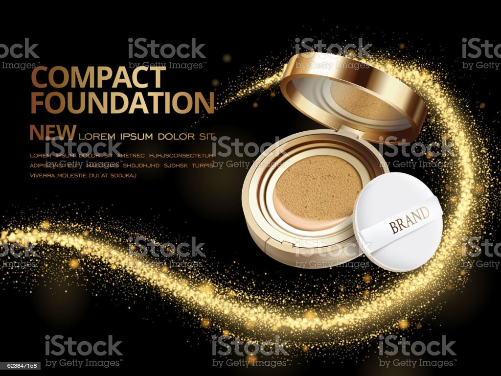 Attractive compact foundation ads vector art illustration