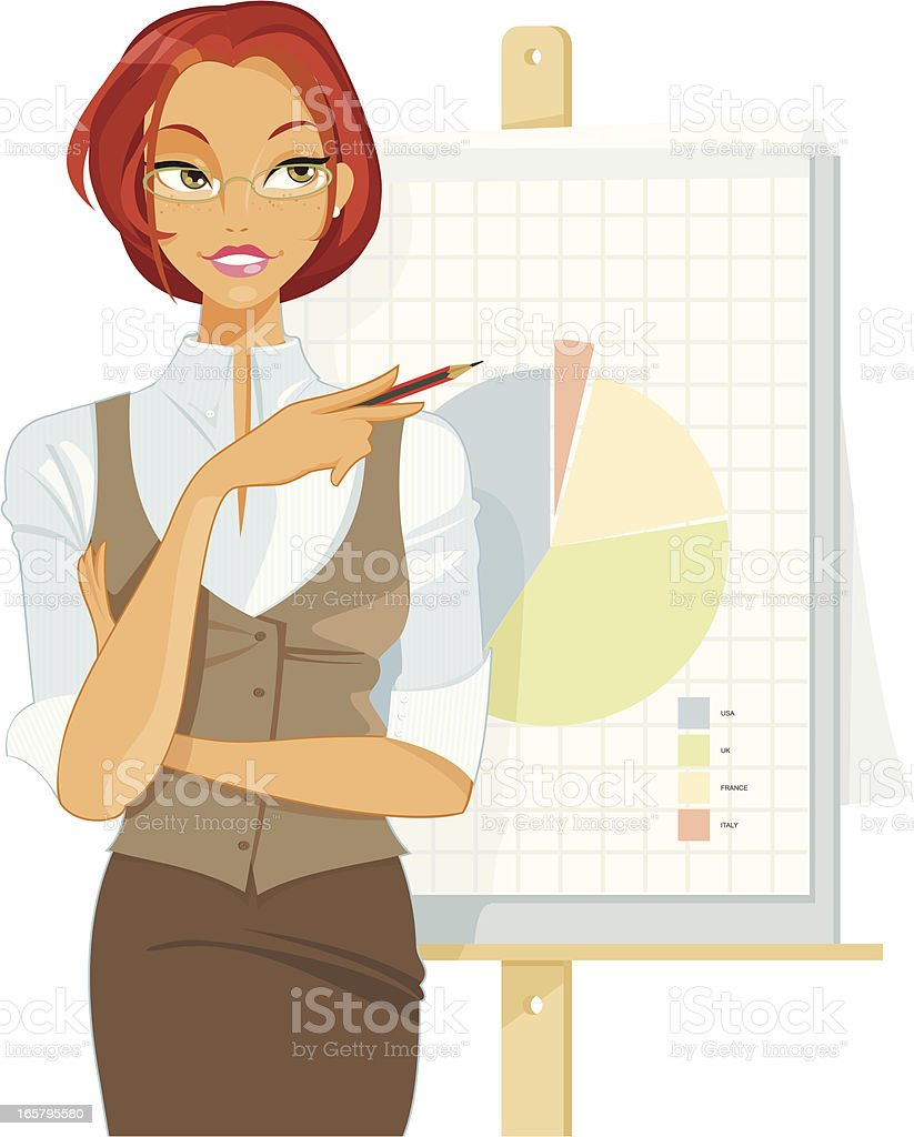 Attractive Executive making a Presentation vector art illustration