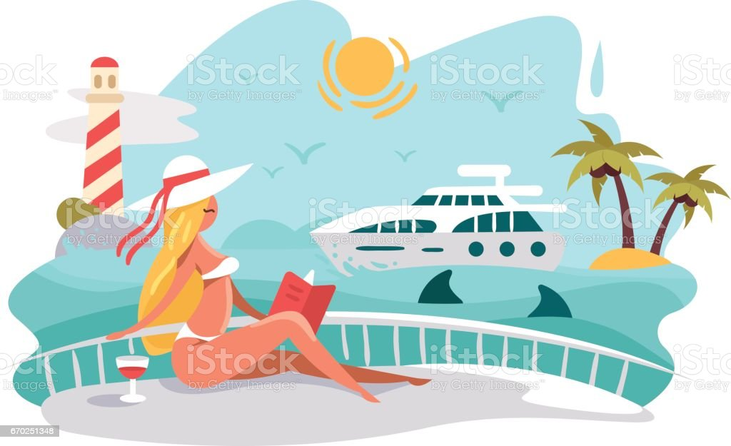 attractive girl reading book on deck of yacht イラストレーションの
