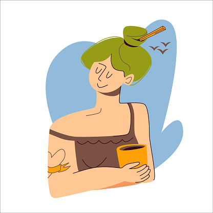 Attractive girl with a pencil in green hair holds a cup of hot drink, tea or coffee. On the background is a fragment of the sky with white birds. Vector flat illustration isolated on white background.