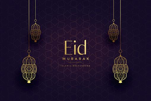 attractive golden islamic lanterns eid festival background