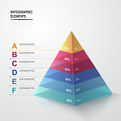 attractive infographic design with 3d colorful triangle elements