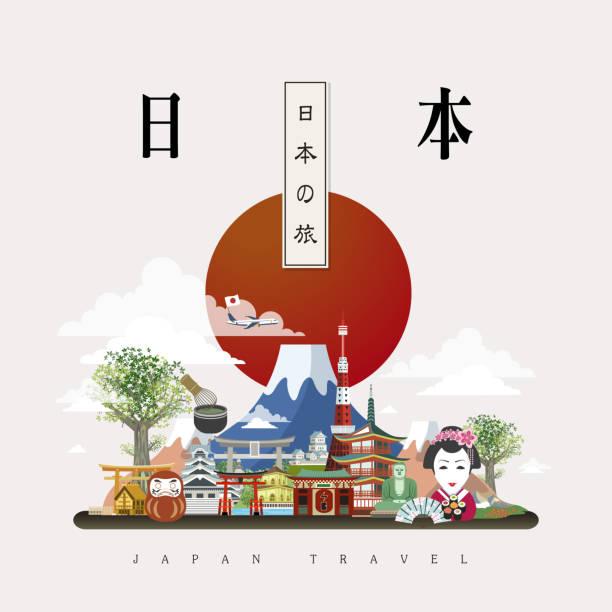 attractive japan travel poster - hiroshima stock illustrations