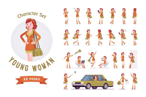ilustrações, clipart, desenhos animados e ícones de conjunto de caracteres de mulher atraente - carro mulher