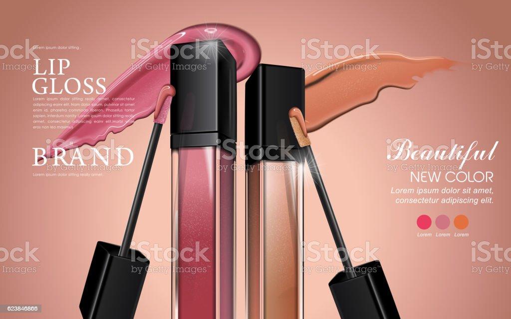 Attractive lip gloss ads vector art illustration