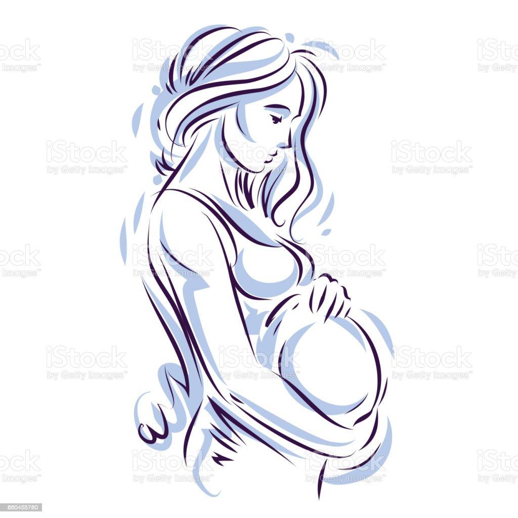 silhouette de corps de jolie femme enceinte de dessin illustration vectorielle de future maman. Black Bedroom Furniture Sets. Home Design Ideas