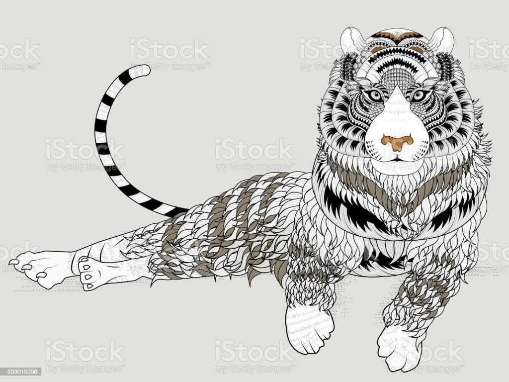 Attractive Tiger Coloring Page Stock Illustration - Download ...